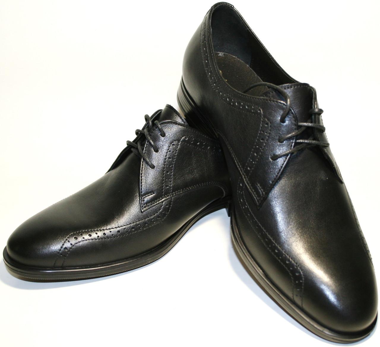 98f5442ffcc9 Туфли дерби мужские броги кожаные, черные Икос демисезонные -  Интернет-магазин