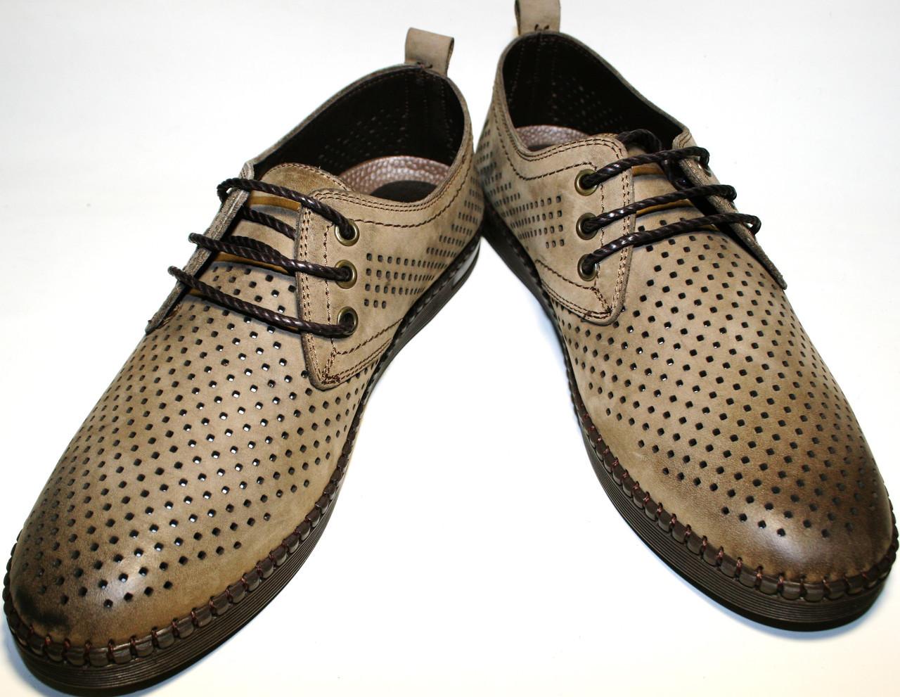 ba8e77759 Туфли мужские кожаные, летние, дерби, бежевые Luciano Bellini с обильной  перфорацией - Интернет