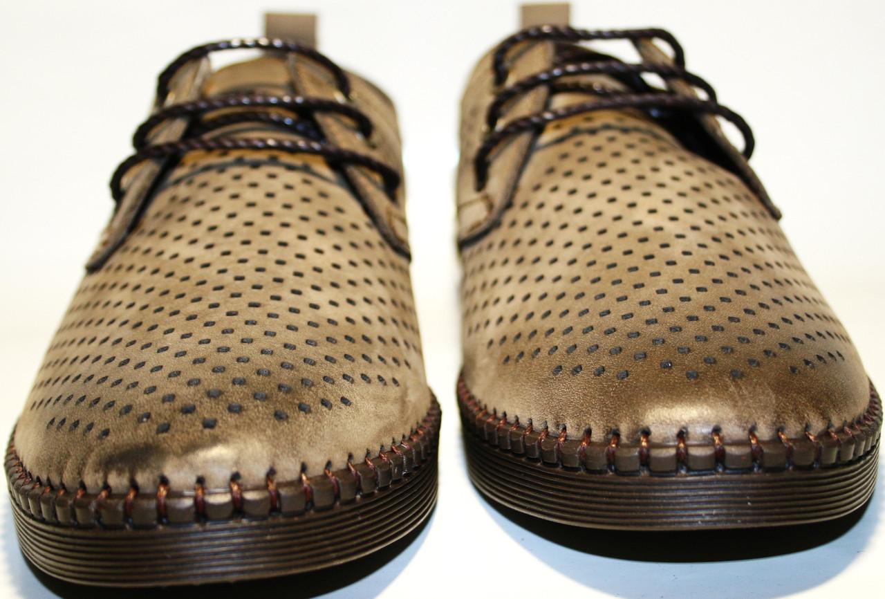 b52b70079 ... фото Туфли мужские кожаные, летние, дерби, бежевые Luciano Bellini с  обильной перфорацией, ...