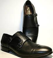 Мужские туфли монки кожаные черные, демисезонные Икос классические , фото 1