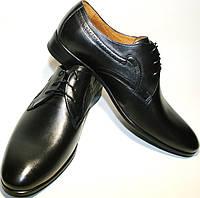 Мужские туфли дерби, черные, классика, кожаные Икос, фото 1