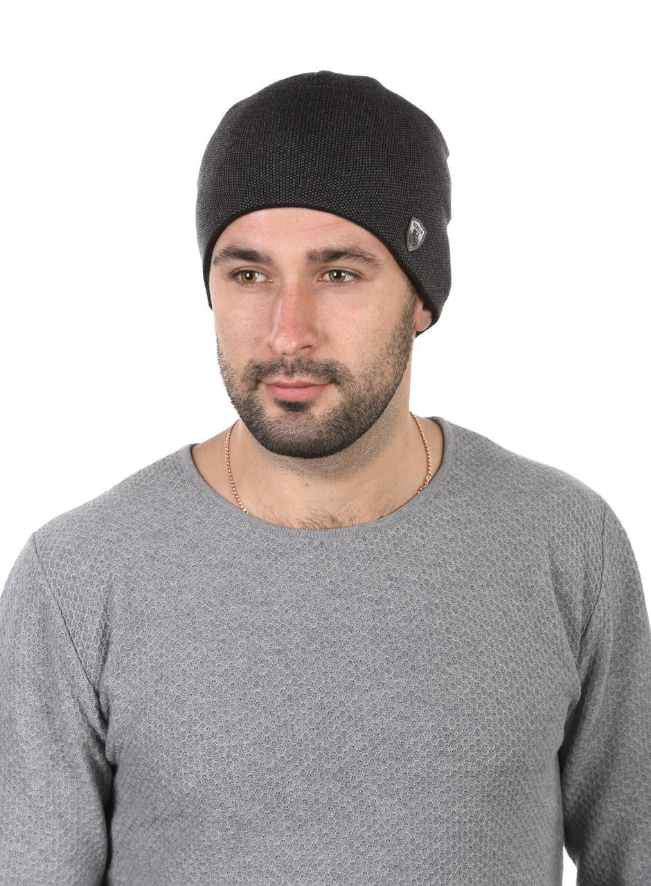 Шапка вязаная мужская темно - серая с ремешком
