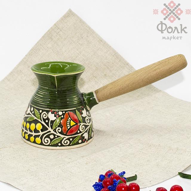 Турка керамическая с цветочной росписью