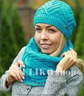 Комплект шапка и шарф шерстяной бирюза