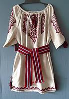 Плаття-вишиванка  для дівчинки  8-10 років на сірому льоні