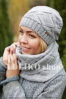 Комплект шапка и шарф шерстяной св. серый