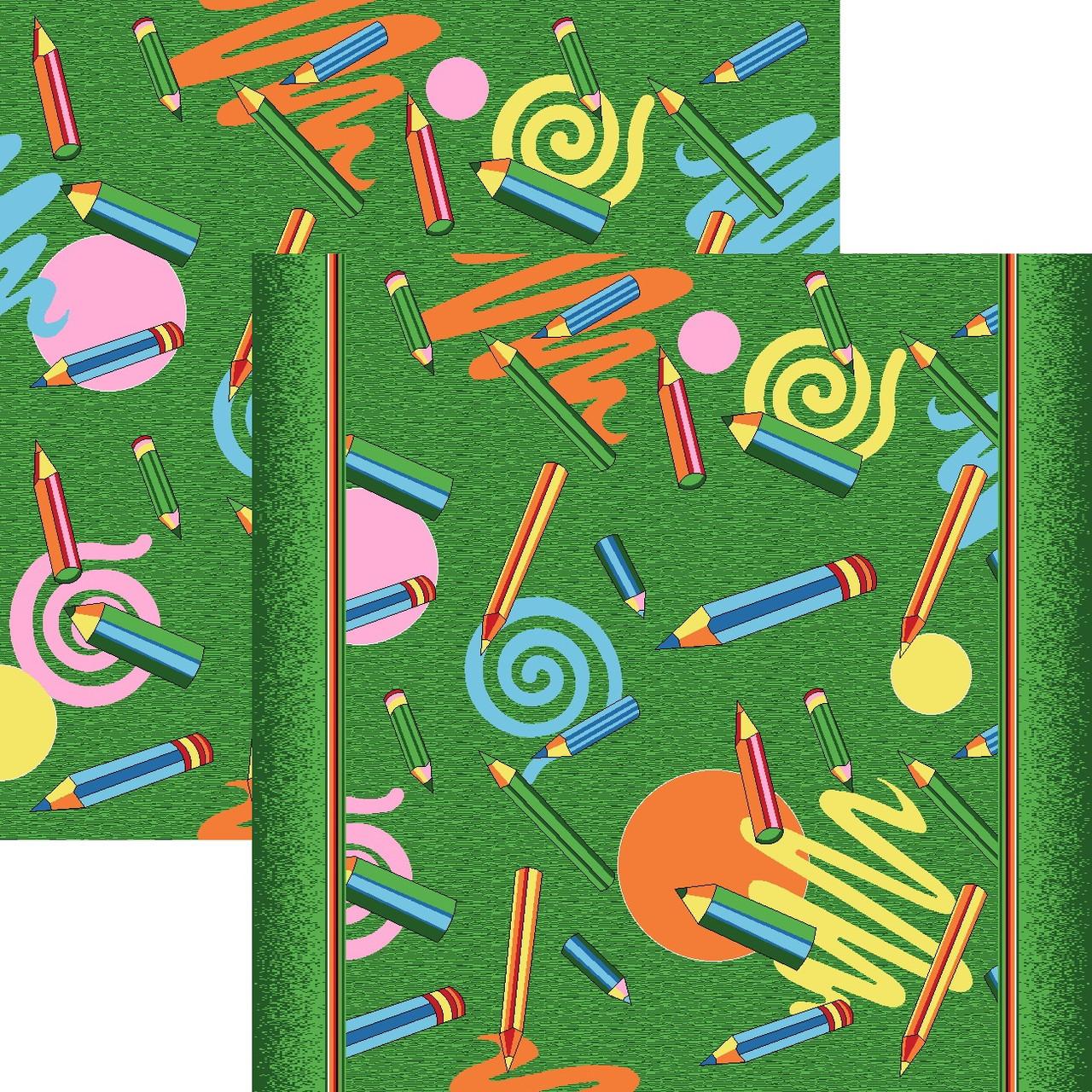 Зеленый ковер в детскую Карандаши