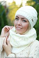 Комплект шапка и шарф шерстяной молочный