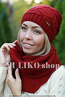 Комплект шапка и шарф шерстяной темно красный