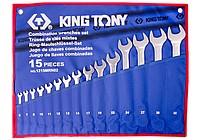 Набор комбинированных ключей, 6-32 мм, чехол из теторона, 15шт. King Tony 1215MRN02
