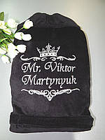 Мужской махровый халат «Серебро на чёрном»