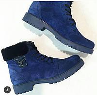Зимние женские ботинки на шнурках