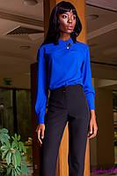 Блуза Синяя Женская из Плотного Шифона + Брошь р. S M L XL