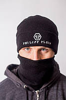 Шапка чёрная Philipp Plein лого вышивка