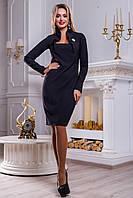 Классическое платье из костюмной ткани прямого кроя с имитацией болеро 44-50 размера 46
