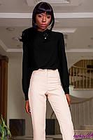 Блуза Черная Женская из Плотного Шифона + Брошь р. S M L XL