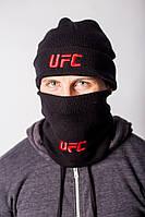 Шапка чёрная UFC лого вышивка