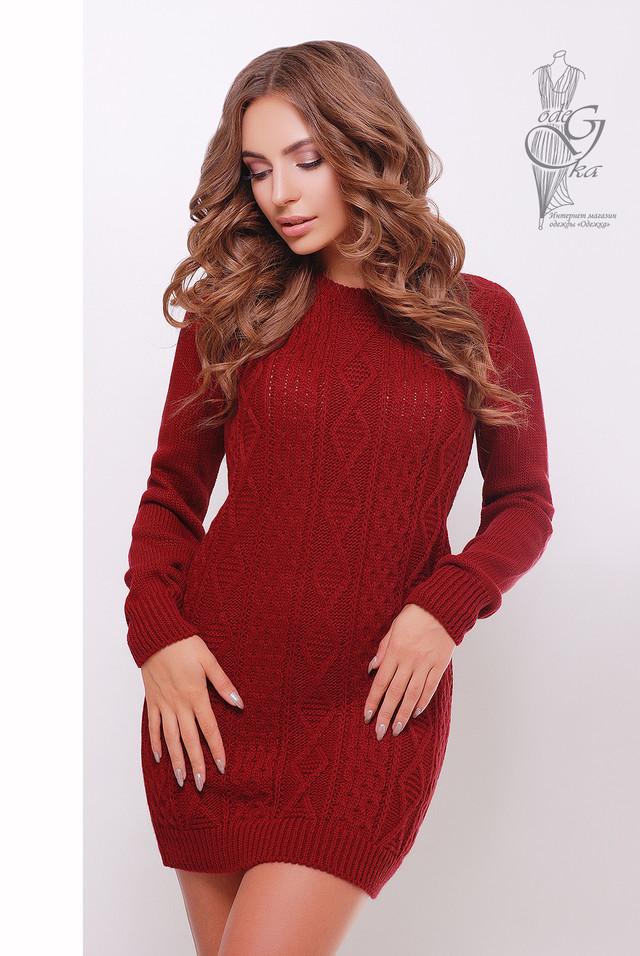 Бордовый цвет  Вязаных платьев туник Васаби