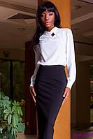 Блуза Белая Женская из Плотного Шифона + Брошь р. S M L XL
