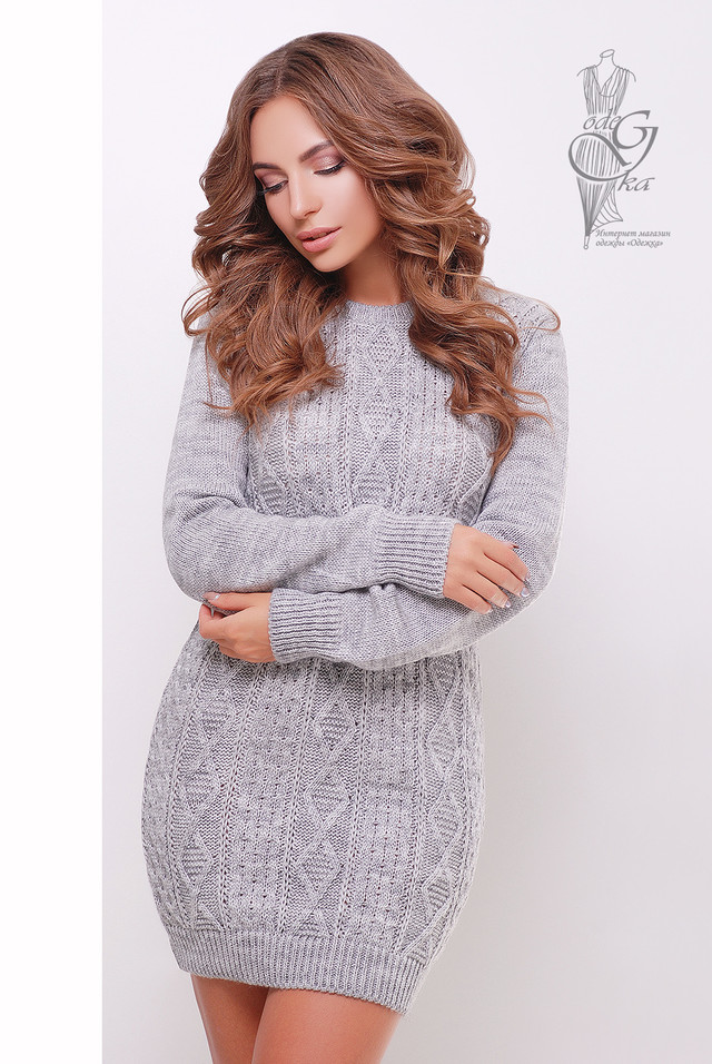 Серый цвет  Вязаных платьев туник Васаби
