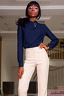 Блуза Т/Синяя Женская из Плотного Шифона + Брошь р. S M L XL