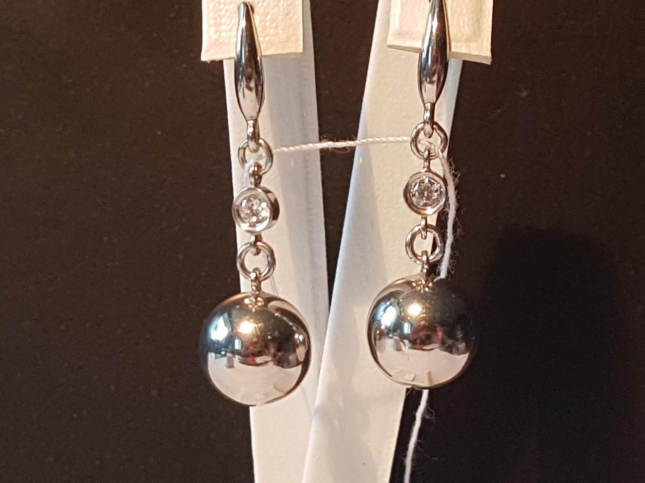 Серебряные серьги Шары с фианитами. Артикул 420609С
