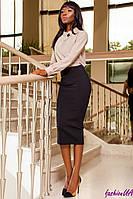 Блуза Бежевая Женская из Плотного Шифона + Брошь р. S M L XL