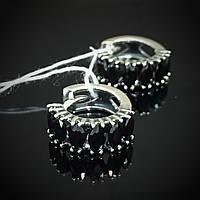 Серебряные серьги с черными фианитами, фото 1