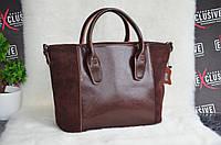 Стильная шоколадная женская КОЖАНАЯ сумка.