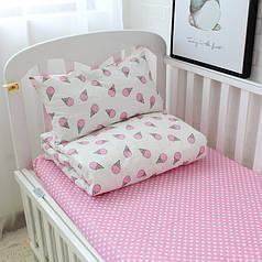 """Детский комплект """"Мороженое розовое"""" Сатин Премиум  ТМ Царский дом в кроватку"""
