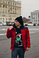 Куртка зимняя, мужская, красный + черный