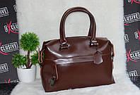Шоколадная женская сумка из натуральной кожи саквояж, фото 1