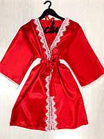 Халат красный женский с белым кружевом на 42-44, фото 1