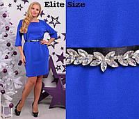 Женское платье с декоративным поясом, в расцветках, р-р 50-62