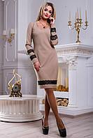 Красивое платье прилегающего силуэта из костюмной ткани с кружевом 44-50 размера, фото 1