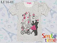 Футболка детская с принтом р.80,86,92 SmileTime для девочки Love in Paris, белая в горошек