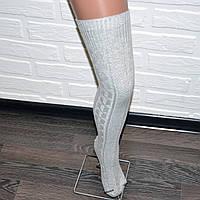 Заколенки гольфы светлосерые женские, гетры выше колена
