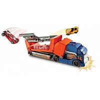 Hot Wheels Грузовик автовоз авария оранжевый Crashin' Big Rig Blue Cab Orange Trailer