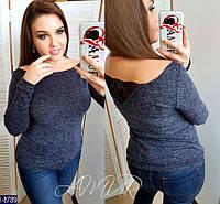 Модный ангоровый свитер с универсальным вырезом и вставкой из гипюра, батал, цвет темно-синий. Арт-14406