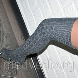 Женские темно-серые гольфы, шерстяные гетры выше колена, теплые заколенки