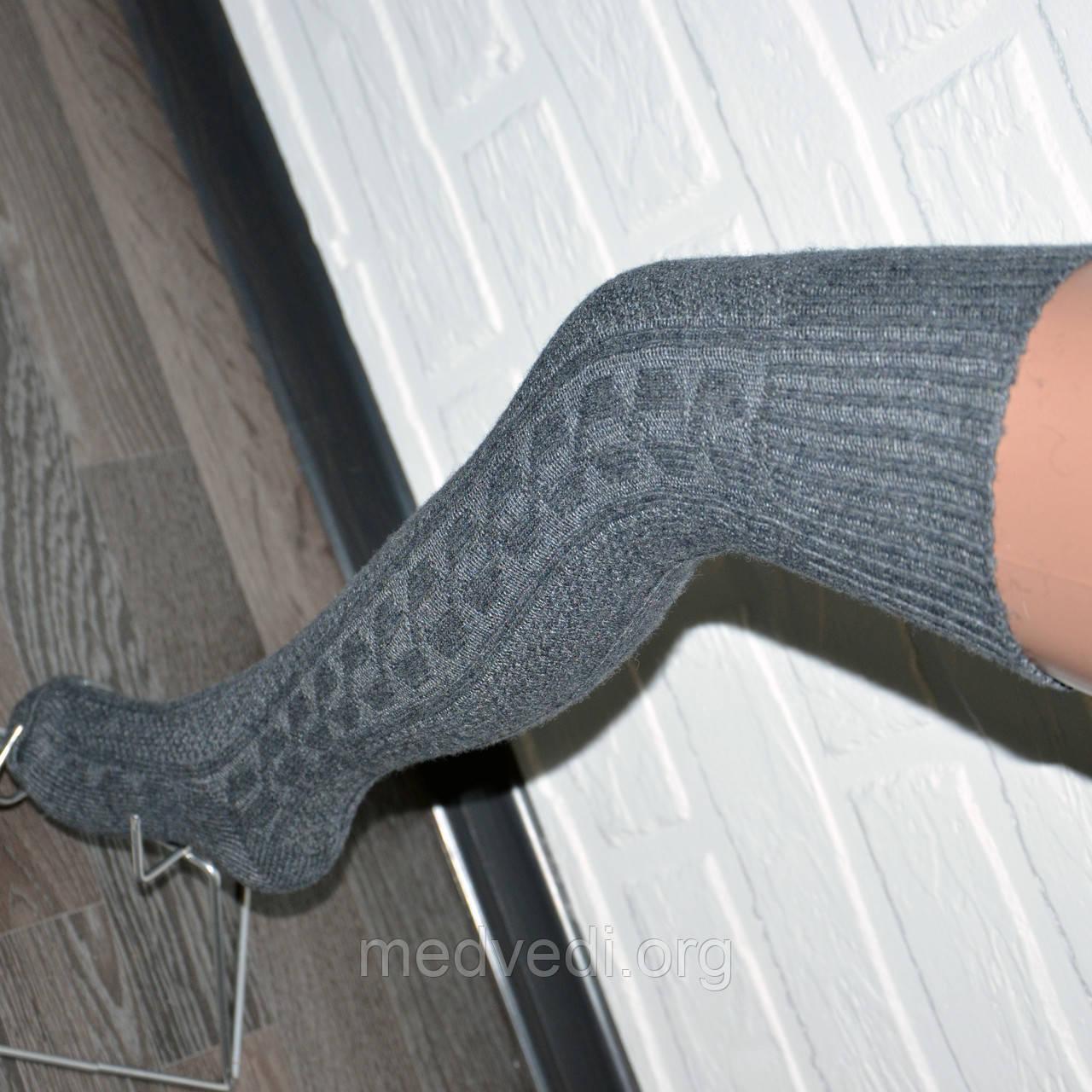 Жіночі темно-сірі гольфи, вовняні гетри вище коліна, теплі заколенки