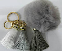 Серые брелоки помпоны с кистями на сумки и ключи- меховые брелоки оптом в Украине (13 см) 261