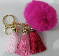 Яркие брелки помпоны с кистями для сумок и ключей- меховые брелоки оптом (13 см) 262