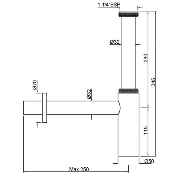 Сифон для раковины Jaquar ALD-CHR-769L250X19
