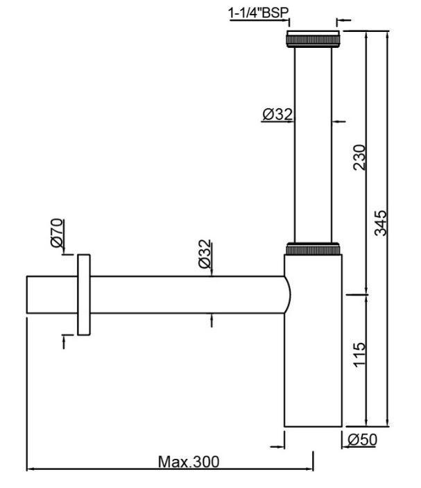 Сифон для раковины Jaquar ALD-CHR-769L300X19