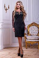Модне замшеве плаття прилягає з перфорацією і рукавами сітка 44-50 розміру, фото 1
