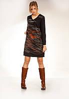 Платье свободного силуэта  с оригинальным декором  «Роспись шерстью» и стразами