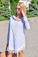 Женское платье-рубашка с кружевом, фото 1