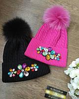 Модные шапки с камнями с натуральным помпоном
