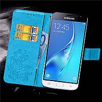 Чехол Clover для Samsung Galaxy J3 2016 J320 J320H J300 книжка кожа PU Blue